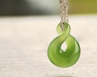 Jade Necklace - Green Nephrite Jade - Twisted Lucky 8 - Infinity Symbol