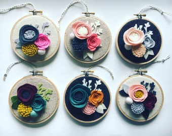 Embroidery Hoop Art, Wall Art, Mother's Day, Teacher Appreciation, Nursery Room Decor, 3 D felt flowers