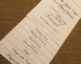 8 Page - WE Personalize YOU Print Wedding Program - Choose Your Design