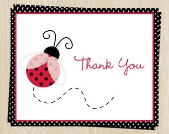 Baby Shower Thank You Cards, Ladybugs, Birthday, Girl, Red, Black, Polka Dots, Lil Ladybug, 1st Birthday, 20 Folding Notes, FREE Shipping