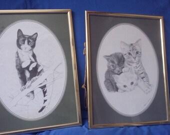 2 Large Cat Prints. Vintage Retro 1978