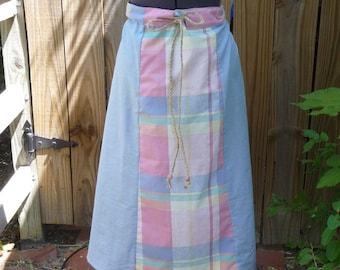 Handmade Skirt, Paneled Skirt, Patchwork Print, Pastel Fabrics, Recycled Fabrics, Unique Clothing, Drawstring, Misses Clothing, Hippie Boho