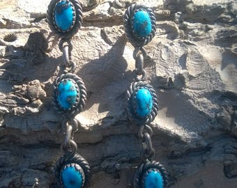 Vintage Morenci Turquoise Dangle Earrings From The 1950's
