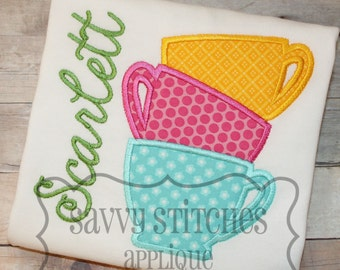 Stacked Teacups Machine Embroidery Applique Design