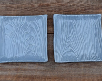 Ceramic Plate, Stoneware Square Saucer, Faux Bois Pottery, Wood Grain Small Plate, Gray Pottery Tray, Slab Built Soap Dish, Tree Lover Gift