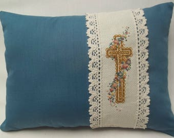 Cross With Flowers Mini Pillow Cross Stitch Christian Pillow Easter
