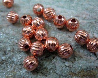 50 COPPER 6.3mm CORRUGATED BEAD with 1.5mm Hole