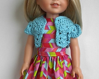 "14"" Doll Clothes Sleeveless Cotton Dress Multi Color with Turquoise Crocheted Bolero Handmade to fit 14.5"" Wellie Wishers and Other Dolls"