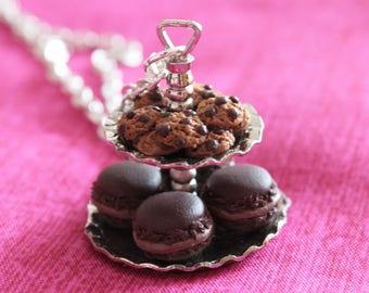 Gourmet tea cookies and macaroons necklace