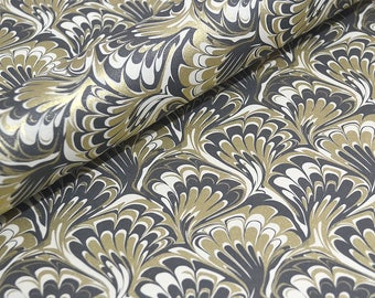 Traditional Marbled Style Italian Paper - Black and Gold Feathered