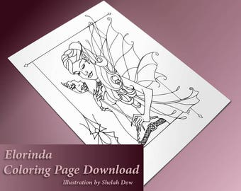 Elorinda Masquerade Fairy with Spider border Adult Coloring Page Fairy - Art Printable Digital Download - Coloring for Grownups