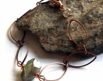 Blue Labradorite Gemstone Copper Chain Bracelet earthegy #333