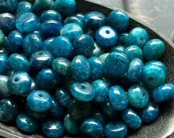 Apatite rondelle beads - Teal Gemstone Beads - Teal Beads - Blue Gemstone Beads - Apatite Gemstone Beads