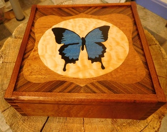 Butterfly Marquetry Box
