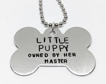 Pet play, puppy, custom necklace, can be customised, puppy owned by master, BDSM necklace, dog tag bdsm,  little puppy, ddlg collar, bdsm