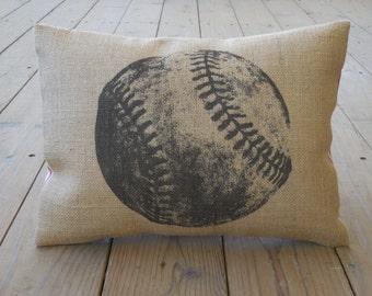 Baseball Burlap Pillow, Baseball Decor, Farmhouse Pillows, Sports8, INSERT INCLUDED