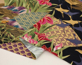Japanese Bird and flower Pattern, 30S Cotton Fabric, by Yard
