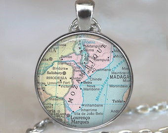 Mozambique map necklace, Mozambique map pendant Mozambique pendant Mozambique necklace map jewelry key chain key ring key fob