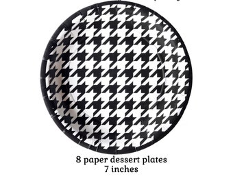 houndstooth plates, hounds tooth dessert dishes, paper tableware, graduation party decorations, black and white table, birthday, Alabama
