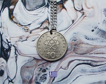 Greek 10 Drachmai Handmade Silver Coin Necklace (Reversible) - Silver Plated Chain.