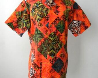Vintage 1980s Men's Orange Hawaiian Bark Cloth Cotton Shirt