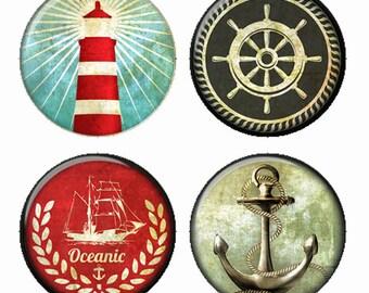 Aimants nautiques ou macarons ou Flatback médaillons ancre phare Laurel capitaine roue