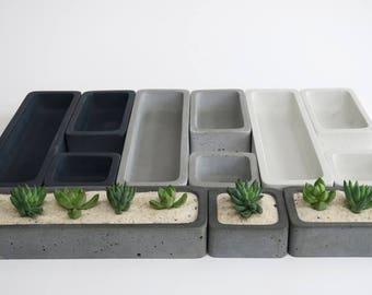 Concrete Succulent Planter Set - Medium, rectangular