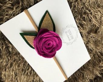 Single rose felt headband