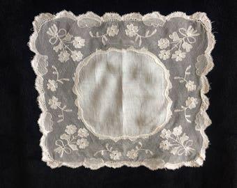 Flower Handkerchief, Lace Square, Antique Lace Handkerchief, Bridal Handkerchief, Something Old, Bridal Gift, Vintage Lace.