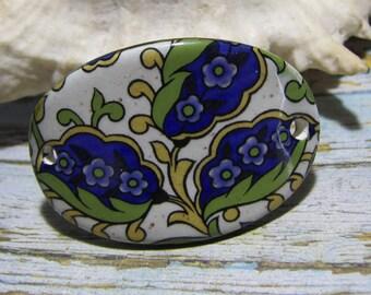 Connector for bracelet, bracelet, ceramic handcrafted, gold green blue botanical motif
