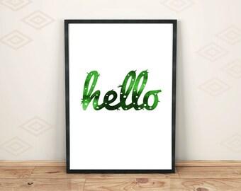 Hello printable quote Instant download Cactus home decor Mid-century printable Humorous artwork Wall home decor
