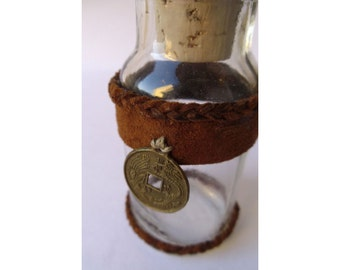 3.5 Inch Brown Leather Decorated Bottle with Charm and Cork