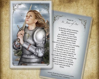 St. Joan of Arc Holy Card or Wood Magnet  #0106