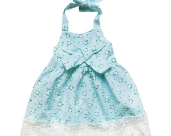 Vintage Floral Blue & Lace Halter Style Dress - Toddler Girls Cotton Spring Summer Beach Vacation Pictures, Church, Birthday Party Outfit