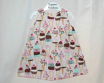 Dress size 12 month pattern ice-cream - Suzanna Creations