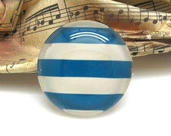 2 cabochons glass spirit sailor stripes blue 20 mm - 20 mm