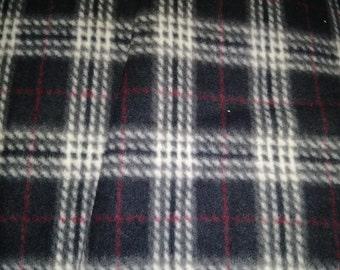 Black Plaid Fleece Fabric