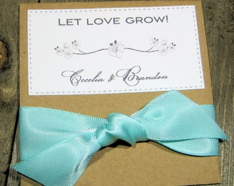 Rustic Wedding Favors with a touch of elegance - Wildflower Seeds - Personalized -  - Set of 10 - Let love grow - Your choice of Ribbon