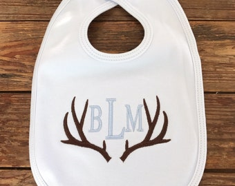 Antler bib / Monogrammed / personalized / bib with antler and monogram