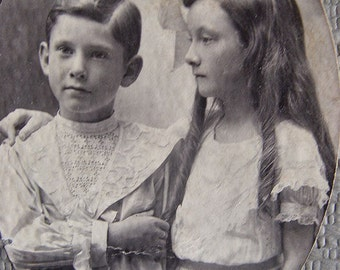 Victorian 19th century Redheads ~ Orig photograph Brother and Sister Vintage formal clothing