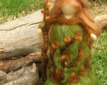 Forest Fairy - Waldorf inspired wool needle felted standing doll