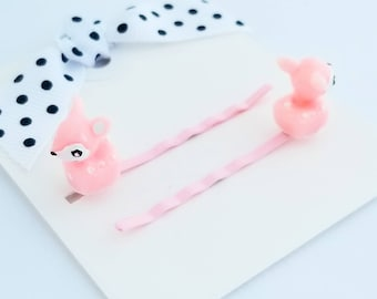 tiny deer pink hair pins set of two for little girls hair accessories bobby pins