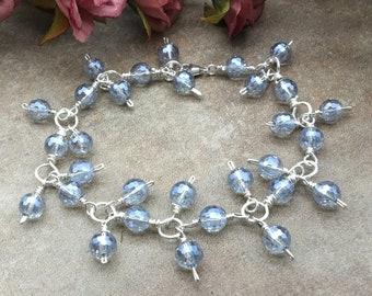 Sparkly Blue Quartz Bracelet, Mystic Blue Quartz, Wedding Bracelet, Something Blue