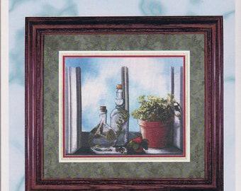 HERB WINDOW, Cross My Heart Inc, cross stitch pattern, counted cross stitch pattern, Sherrie Stepp-Aweau needle work, decor, kitchen decor