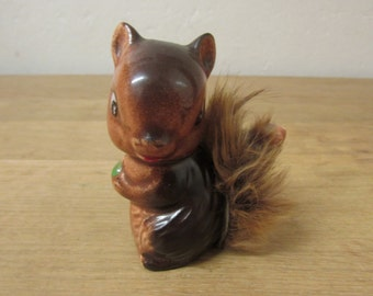 Vintage Japanware squirrel figurine with fur tail feature