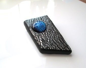 Dichroic Brooch/Pendant, Polymer Clay Pendant, Handmade, Silver and black Brooch, Pin, Jewelry, Gift for Her, Mom Gift