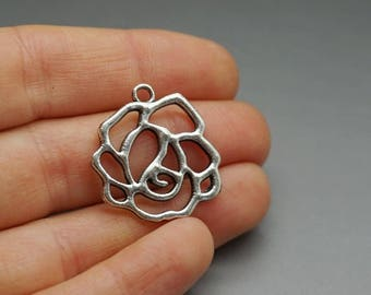 Set of 5 charms pink rose flower Silver (B04)