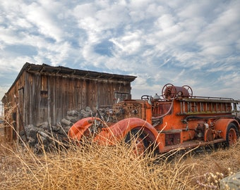 Farm Photography, Vintage Farm, Firetruck, Ranch Photography, Agriculture Photo, California Photo