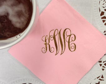 Traditional Script Monogram Napkins | Ampersand | Wedding or Personalized Home Gift | Darby Cards