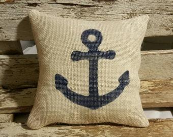 """Anchor Burlap Stuffed Pillow Navy Blue Nautical Summer Pillow 8"""" x 8"""" Beach House Pillow"""